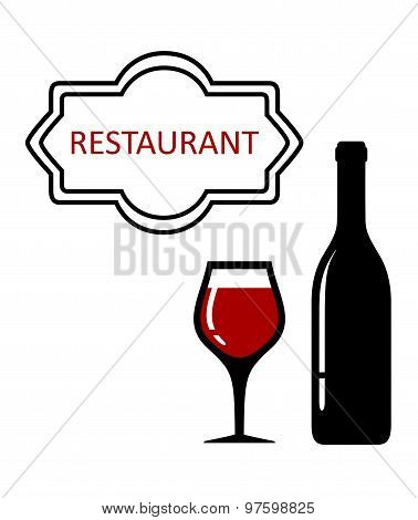 restaurant signboard with glass and bottle