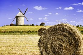 image of windmills  - France the Moidrey windmill in Pontorson in Normandie - JPG