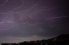 stock photo of lightning-rod  - Beautiful thunderstorm with lightning bolts on the Thai island of Koh Samui - JPG