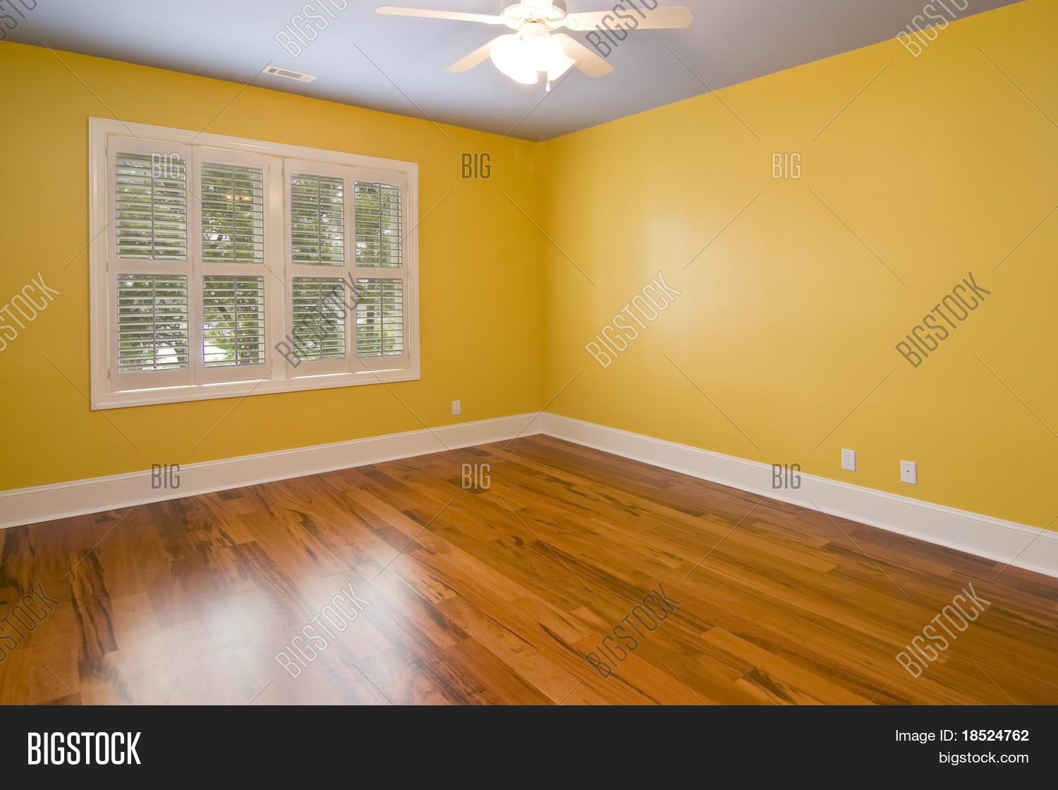 Empty Room Yellow Walls View Image Photo Bigstock