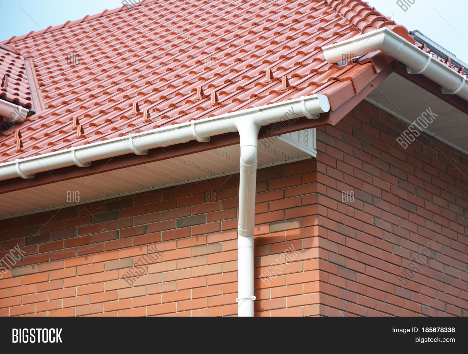 Close on house problem areas rain image photo bigstock for House roof drain pipes