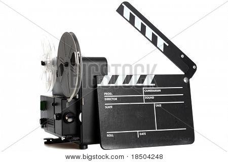 Home Entertainment System from the Past - a film slate and a 8mm Film Projector isolated on white