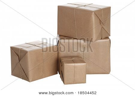 Isolated Parcels wrapped in brown pap