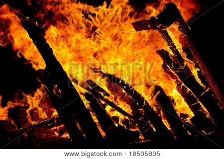 Close up view of a fire