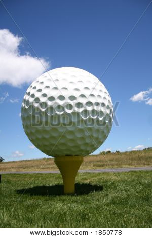Big Golf Ball On The Tee