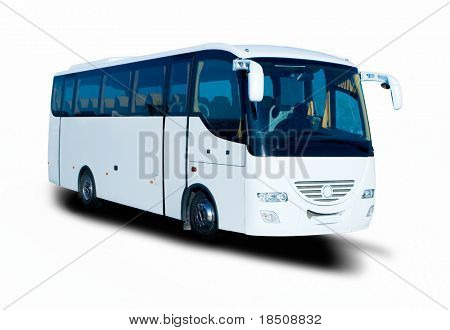 Short white tour bus