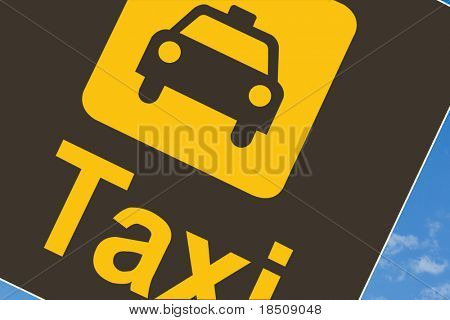 Taxi sign at airport