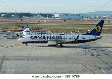 VALENCIA, SPAIN - JANUARY 21:  Irish airline Ryanair plans to increase its fares across Europe, Chief Executive Michael O'Leary was quoted as saying on Thursday.  January 21, 2010 in Valencia, Spain.