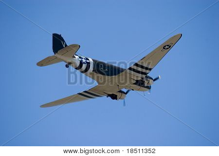 PALM COAST, FLORIDA - MARCH 27: A World War II Dakota (Douglas C-47) Skytrain flys at the Wings Over Flagler Air Show at the Flagler County Airport on March 27, 2010 in Palm Coast, Florida.