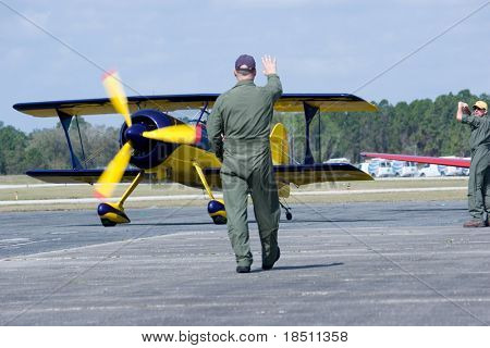PALM COAST, FLORIDA - MARCH 27: A pilot prepares to take off at the Wings Over Flagler Air Show at the Flagler County Airport on March 27, 2010 in Palm Coast, Florida.