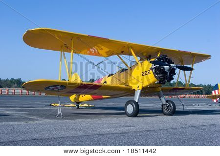 PALM COAST, FLORIDA - MARCH 27: A Bi-plane model on display at the Wings Over Flagler Air Show at the Flagler County Airport on March 27, 2010 in Palm Coast, Florida.