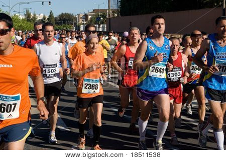 VALENCIA, SPAIN - MAY 16: Runners compete in the IX 15km Villa de Massamagrell run on May 16, 2010 in Valencia, Spain.