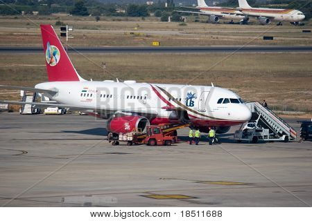 VALENCIA, SPAIN - JUNE 25: India´s Kingfisher Airlines have joined the oneworld alliance to answer the rising demand of global travel. A Kingfisher aircraft on June 25, 2010 in Valencia, Spain.