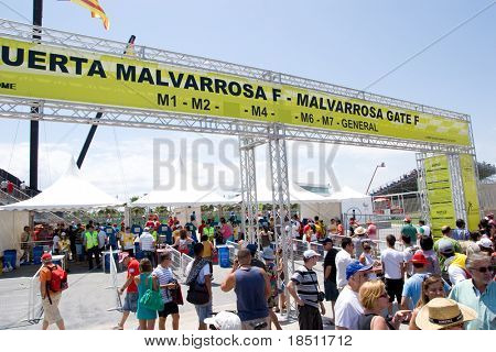 VALENCIA, SPAIN - JUNE 27: Fans enter the 3rd Edition of the Formula 1 racing Valencia Street Circuit Grand Prix of Europe 2010 on June 27, 2010 in Valencia Port, Spain.