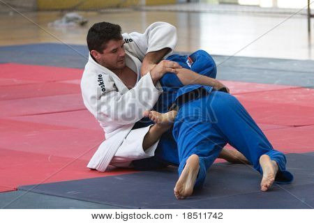 VALENCIA, SPAIN - JUNE 10: Contestants participating in the Judo Competition of the 2010 European Police and Fire Games (EUROPOLYB) in Valencia, Spain on June 10, 2010.