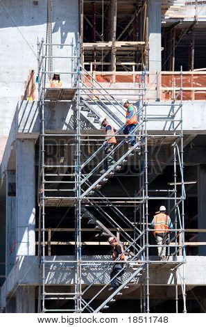 JACKSONVILLE, FLORIDA - MARCH 6: Duval County Courthouse is 6 years behind schedule with a new completion date of May 2012. Workers at the new courthouse on March 6, 2010 in Jacksonville, Florida.