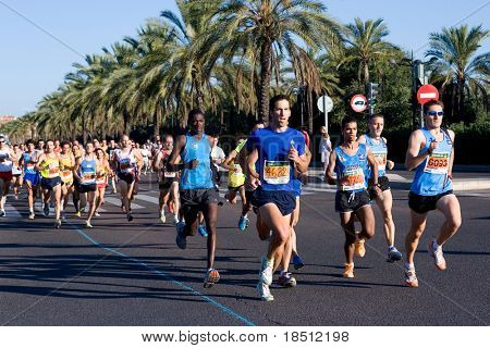 VALENCIA, SPAIN - SEPT 12: Runners compete in the 34th Volta a Peu de San Marcelion  run on September 12, 2010 in Valencia, Spain.