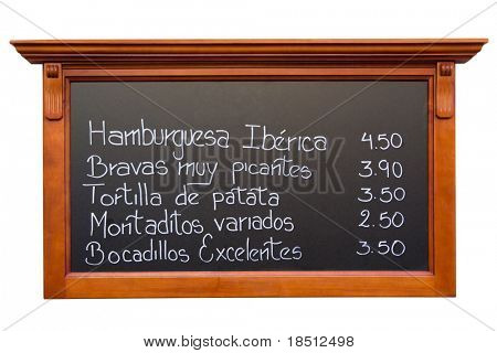 Spanish menu from a restaurant in Madrid
