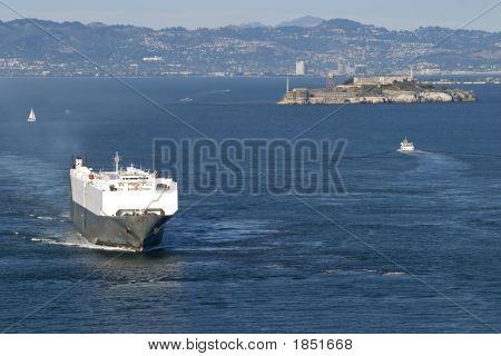 Cargo Boat Next To Alcatraz