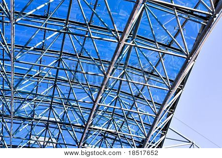 blue glass roof