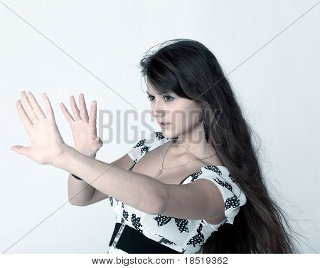portrait of young girl escaping from fear