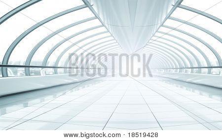 symmetric modern hall inside airport