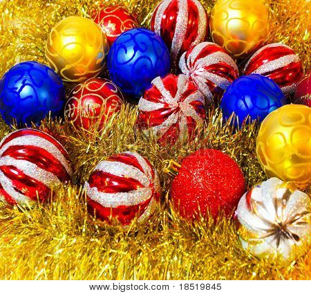 Vivid yellow garland with colorful balls