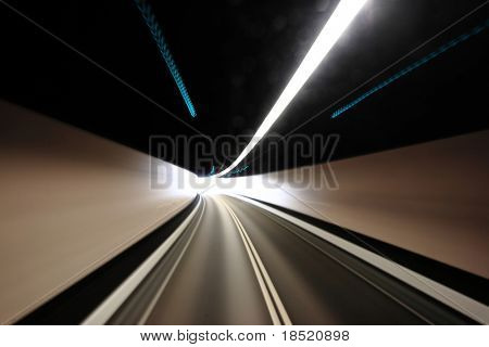 highway tunnel , motion blured