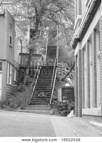 Black and white of historic district in deadwood