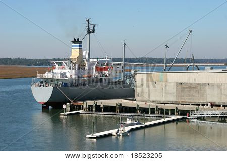 Cargo ship in port