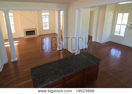 overhead view of open floorplan including livingroom, kitchen, and dining room