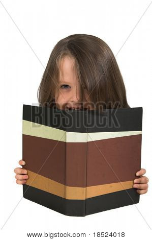 elementary school student studying from behind book with blank cover, you fill in text, isolated over white