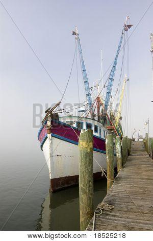 colorido camaroneros, entre barco amarrado en el puerto