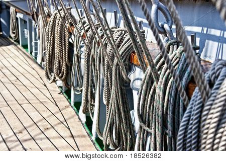 ropes and rigging on sailing ship