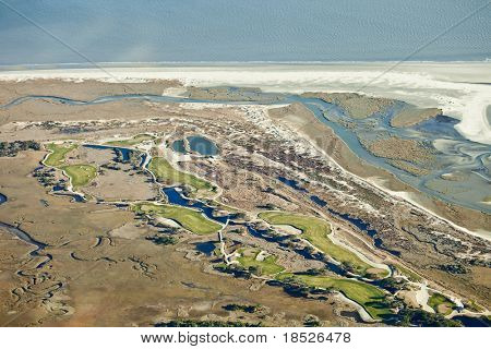 aerial view of golf course on the ocean in south carolina