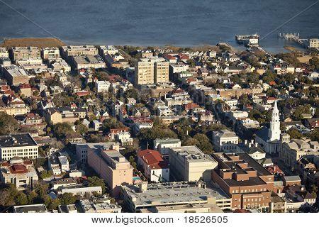 aerial view of charleston south carolina and harbor