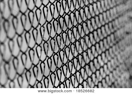 selective focus chain link fence background