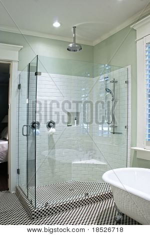 luxurious shower in black and white tile with glass walls