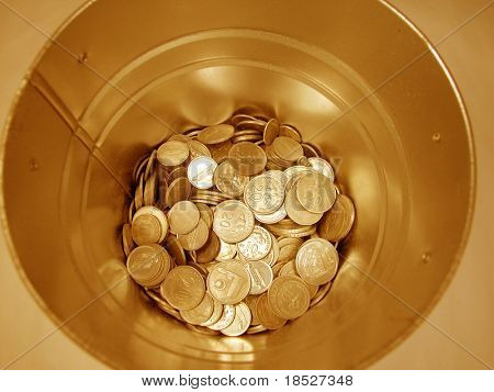 Coins inside a tank