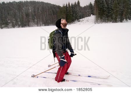 Tired Cross Country Skiier