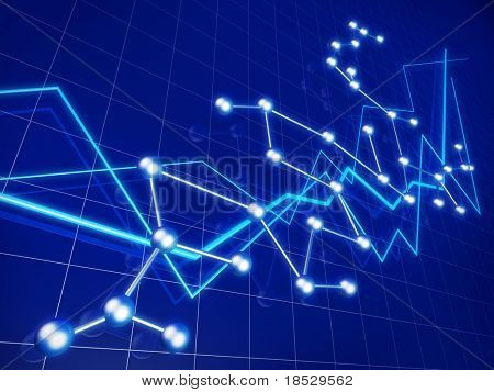 Business financial graph growth and network concept illustration
