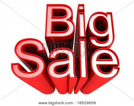 Big Sale promotion sign with clipping path 3d illustration