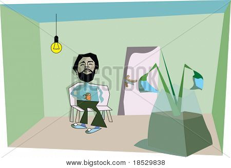 Young man relaxing and drinking tea (vector)