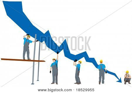 Business failure and depression graph representing bankrupt (vector)