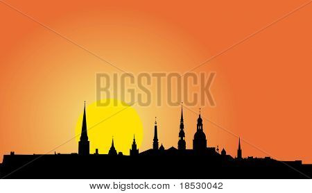Vector illustration of Old Riga panorama silhouette at sunrise