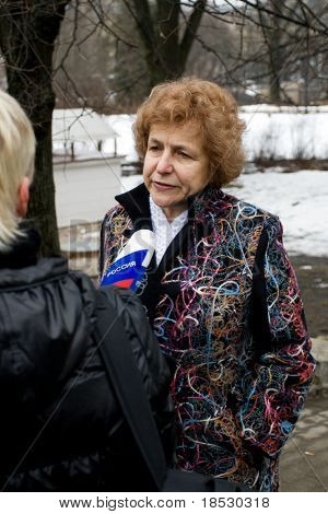 RIGA, LATVIA - MAR 16: Pro-Russia Latvian European Parliament Deputy Tatjana Zdanoka being interviewed at Commemoration of the Latvian Waffen SS unit (Legionnaires) on March 16, 2009 in Riga, Latvia.
