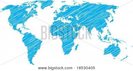 Blue vector sketch of world map