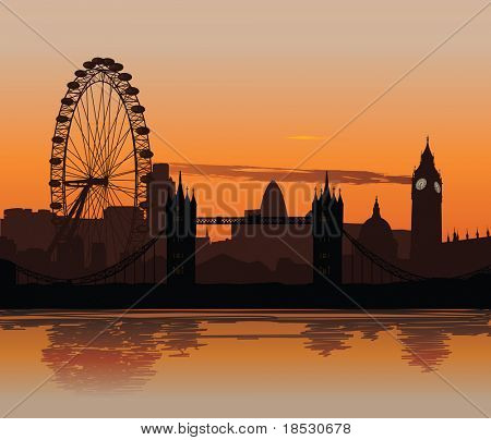 Vector illustration of London skyline at sunset with reflection on the Thames