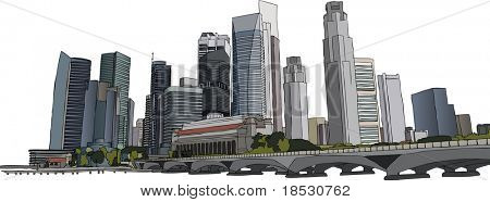 Hand drawn illustration of Singapore skyscrapers