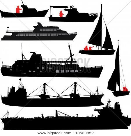 Set of silhouettes of ships and yachts